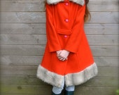 CUTE & warm Scarlet RED Vintage 1960's wool faux fur FRENCH Princess Coat Paris Hot Pink Buttons Fall Autumn wear Little Red Riding Hood