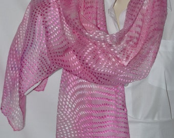 "Ice Dyed Satin Devore Scarf in Pinks (140cm x 32cm  (55""x12"")"