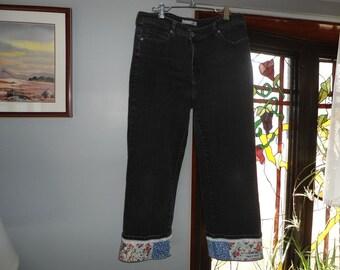 Chico's jean capri with vintage fabric patchwork border