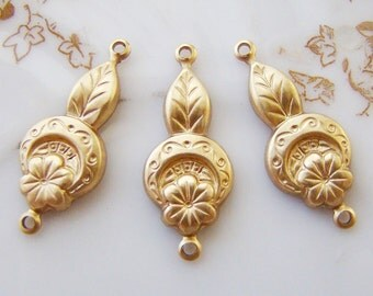 Raw Brass Art Deco Flower Leaf Connector Earring Findings - 6