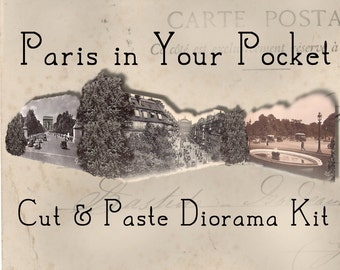 Paris in Your Pocket - DIY Cut and Paste Diorama Kit - Paris Decoration - Paris Card Kit