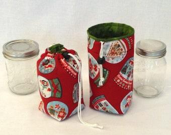 Mason Jar Carrier Bag - Pint Single Jars to Go Christmas print bag carrier cozy gift bag