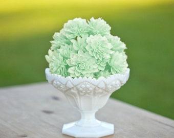 "10 Mint 3"" Wooden Flowers, Wedding Decorations, Wedding Flowers, Mint Wedding"