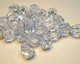 Czech Fire Polish Glass Beads 6mm Round Light Sapphire Blue - 25 Count