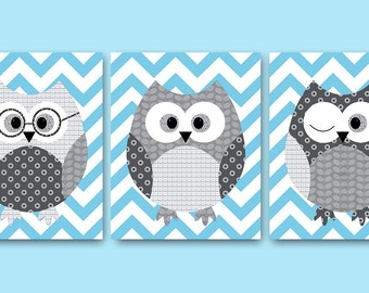Owl Decor Owl Nursery Baby Nursery Decor Baby Boy Nursery Kids Wall Art Kids Art Baby Room Decor Nursery Print set of 3 Owl Blue Gray