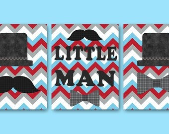 Little Man Nursery Baby Nursery Decor Baby Boy Nursery Kids Wall Art Kids Art Baby Room Decor Nursery Print Boy Print set of 3 Blue Gray