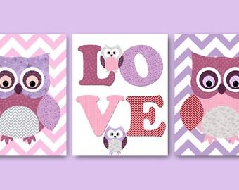 Owl Decor Owls Nursery Baby Nursery Art Decor Kids Wall Art Baby Girl Nursery Print Baby Room Decor Kids Art Girl Print set of 3 8x10 Violet