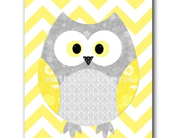 Owl Decor Kids Wall Art Baby Boy Nursery Decor Baby Nursery Print Children Art Print Nursery Print Owl Nursery Gray Baby Boy Art Yellow