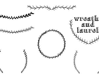 Wreaths and Laurels Clip Art - Instant Download  - personal or commercial use - hand drawn clip art