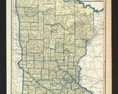Vintage Map of Minnesota From 1935 Original