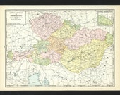 Vintage Map of Austria Hungary Czechoslovakia From 1935 Original