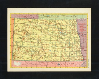 Vintage Map North Dakota From 1953 Original
