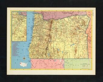 Vintage Map Oregon From 1953 Original