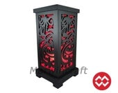 No Screw Design Asian Oriental Japanese Yakuza Red Dragon Art Bedside Table Lamp Wood Light Shades Gift Living Bedroom Furniture Home Decor