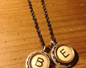 Typewriter Key Necklace with Two Letters (Message me before ordering--I don't have all 26 letters!)