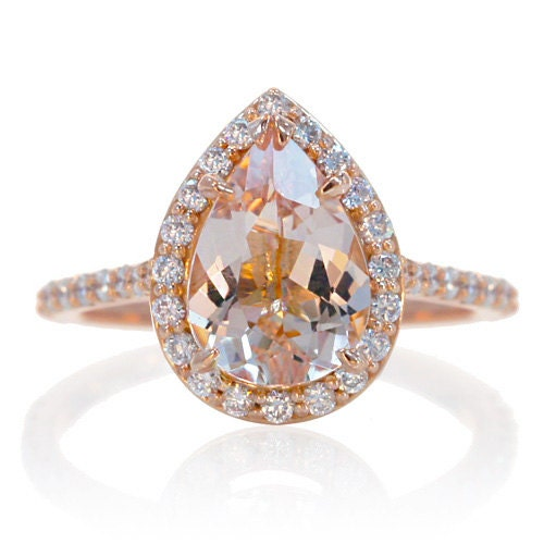 14K Rose Gold Pear Cut Morganite Engagement Ring Shape Diamond