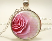 Rose Necklace, Flower Pendant, Pink Jewelry (1628S1IN)