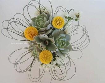 Triple succulent bouquet - Wedding succulent bouquet, Bridesmaidbouquet