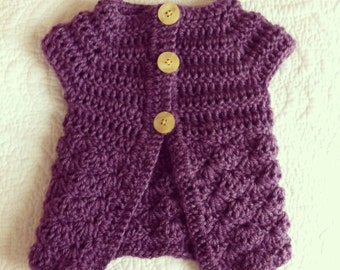 Short Sleeve Grape Purple Baby Girl Sweater with Buttery Yellow Buttons, size 0-3 months.