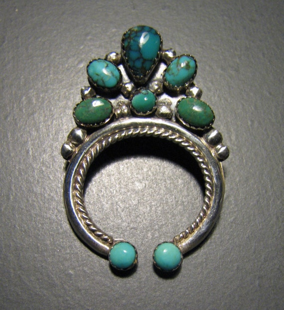Reserved for Diane -- Vintage NAVAJO Signed Erma Arviso Turquoise NAJA Pin/Pendant in Sterling Silver