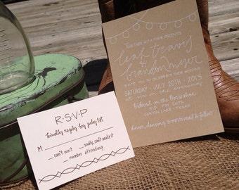 Vintage Wedding Invitation / Casual Wedding Invite / Kraft Paper Invitation / Outdoor Wedding Invitation / Rustic Barn Wedding Invite