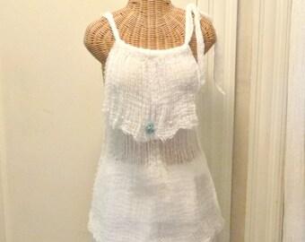 Nautical Tunic Tank Top Beaded Seashell Crochet Artisan Cotton Gauze Spa Pool Cover Up Womens