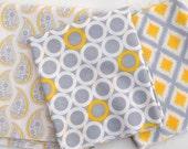 Gray Matters - REMNANT Fabric Bundle - Camelot Fabrics - Jacqueline Savage McFee - Grey, yellow, white