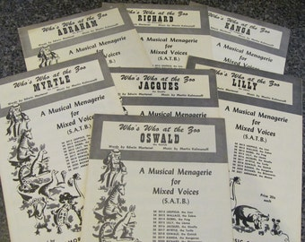Whos Who at the Zoo ~ A Musical Menagerie for Mixed Voices (SATB) - a 7 Piece Song Cycle ca: 1957