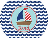 Personalized Melamine Plate Kid Plate Childrens Dinnerware Personalized Kids Plate Toddler Boy Anchor Nautical SAIL AWAY