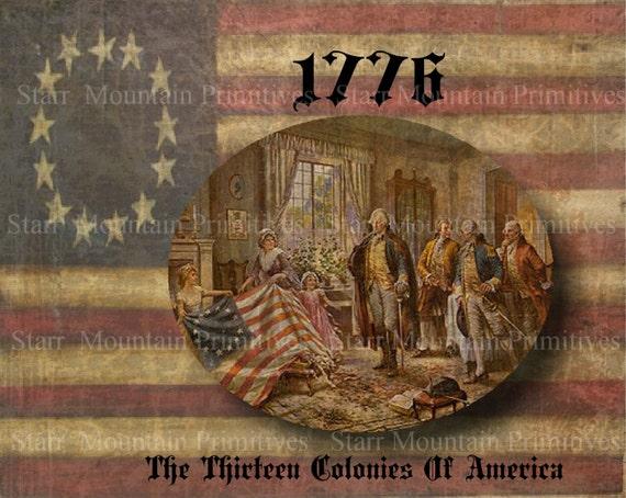primitive betsy ross 1776 13 colonies feedsack logo pantry jar