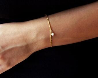 14k gold bracelet, pearl bracelet, gold bracelet, delicate bracelet, romantic bracelet, thin gold bracelet, dainty gold bracelet