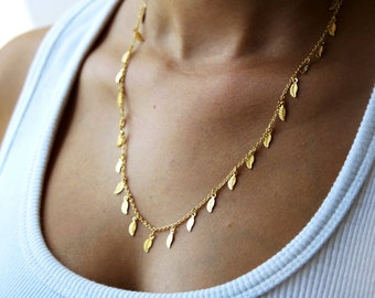 Gold chain, gold necklace, leaves necklace, delicate necklace,  thin gold necklace, dainty gold necklace, minimalist necklace