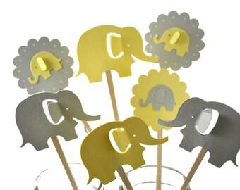12 Yellow Elephant Cupcake Toppers / Elephant Baby Shower/Elephant Party Decor/ Elephant Invitation / Yellow & Grey Elephant Cupcake Toppers