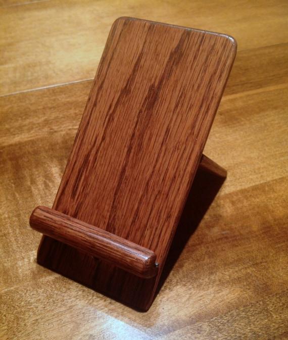 iPhone, iPad Mini, iPod Touch Holder / Stand - Oak with Docking Option (Chestnut Finish)