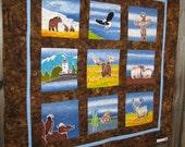 ALASKA Landscape art quilt / wall hanging... eagle, totem pole, bear, moose... hand painted Indonesian batiks... ready to ship
