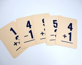 Vintage Math Flash Cards Set of 10 Paper Ephemera Altered Art supply 1950s