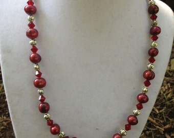 Red Freshwater Pearl Necklace