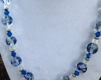 Blue Swirl Glass Bead Necklace