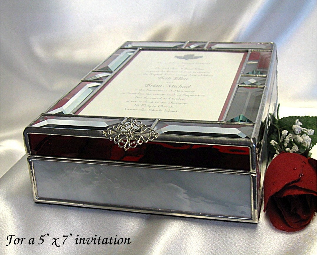 Wedding Invitation Gifts: Wedding Invitation Keepsake Gift Box In Stained Glass For A