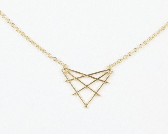 Cutout triangle necklace, geometric pendant necklace, cute necklace, woman necklace, JR0657