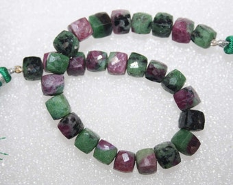 Natural AAA Quality Ruby Zosite 7 to 8mm Faceted Box Gemstone Beads 8 Inches BA122
