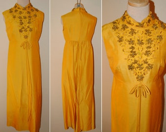 60s Yellow Formal Gown Beaded and Embellished Gorgeous Large Dress