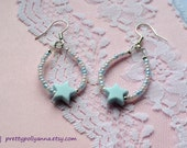 Baby Blue Pastel Beaded Dangle Earrings with Plastic Star Bead
