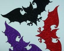 Embroidered Bat Motif / Patch / Badge / Applique - Lots of Colour Choices