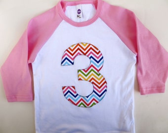 3 for 3rd  Birthday Pink and White Raglan Rainbow Chevron Number or Any Birthday Number on Birthday Shirt