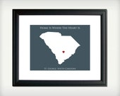 South Carolina - Home Is Where The Heart Is - 8.5x11 Personalized Map Art Print - also available in 13x19 and 5.5x8.5 - see listing details