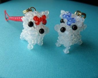 Yorkshire Terrier Charm - Swarovski Crystal Miniature Phone Charm / Pendant Top