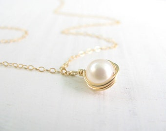 Pearl necklace, gold necklace, wire wrapped necklace, bridesmaid gift, bridesmaid necklace, weddings, simple pearl necklace, June birthstone