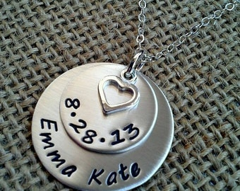 New Mom Necklace - Custom Name Date Necklace - New Grandma Necklace Stamped Evermore