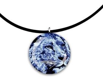 blue, Big cat art, blues, Lion, glass tile pendant, handmade, denim colors